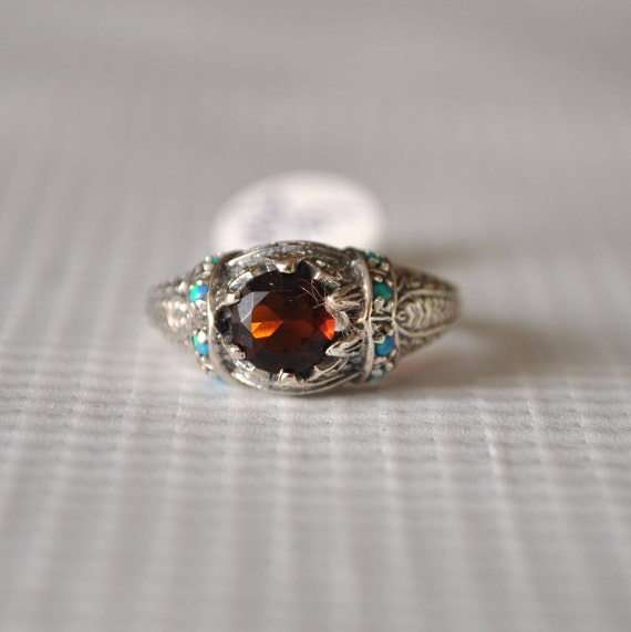 Sterling Silver Garnet Blue Fire Opal Art Deco Ring Sz 6 #9804