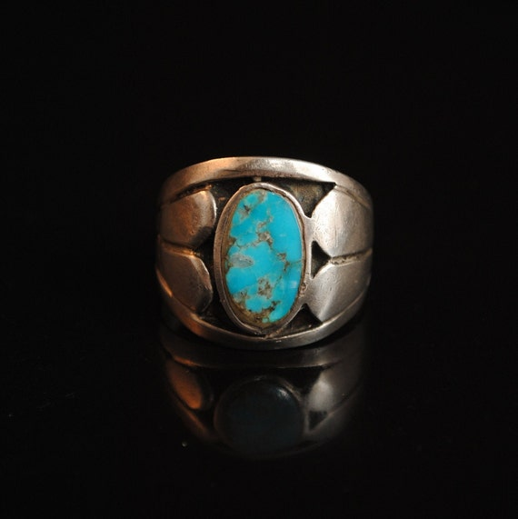 Sterling Silver Native American Navajo Turquoise Ring Sz 11.5 #13287