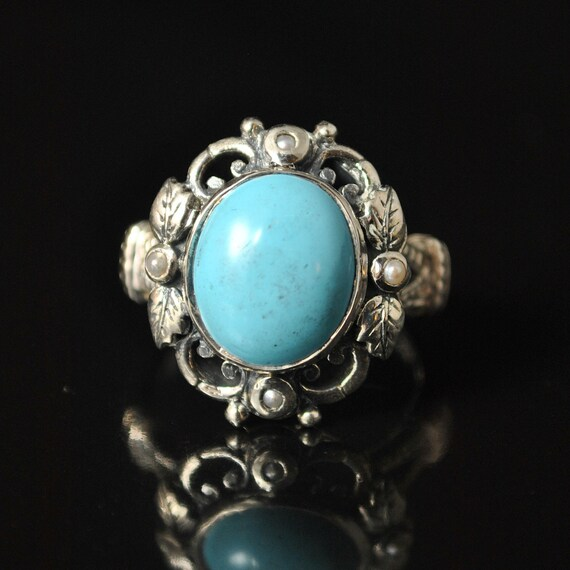 Sterling Silver Antique Style Turquoise Seed Opal Ring Sz 6  #10240