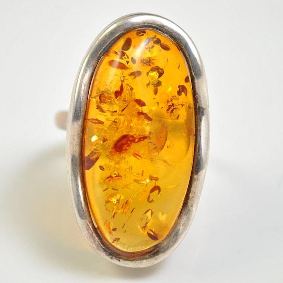 Sterling Silver Honey Amber Adjustable Ring #10440
