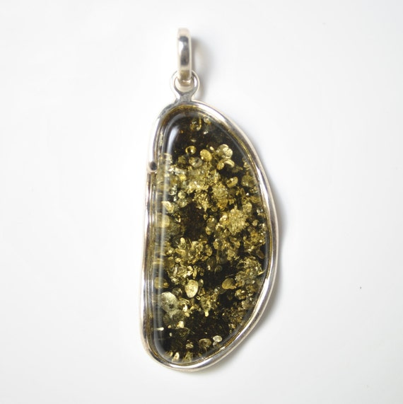 Sterling Silver Green Amber Pendant #10476