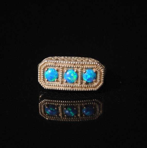 Sterling Silver Blue Fire Opal Art Nouveau  Ring Sz 6 #6846