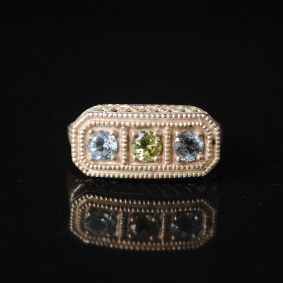Sterling Silver Aquamarine Peridot Art Deco Ring Sz 6  #5993