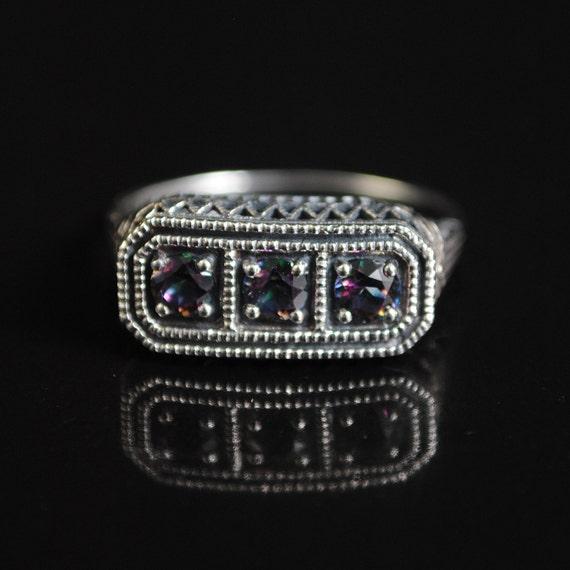 Sterling Silver Rainbow Topaz Edwardian Ring Sz 9 #11668