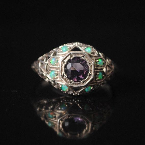 Sterling Silver Amethyst Opal Art Nouveau Ring Sz 7 #12271