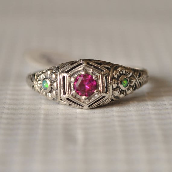 Sterling Silver Ruby Opal Victorian Ring Sz 8  #9844