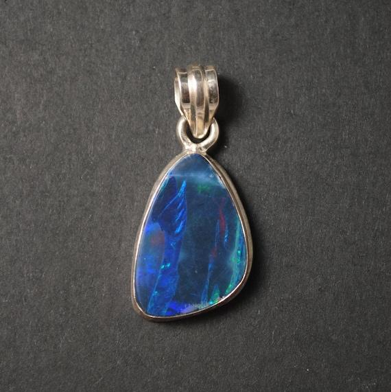 Sterling Silver Blue Australian Opal Pendant #13144
