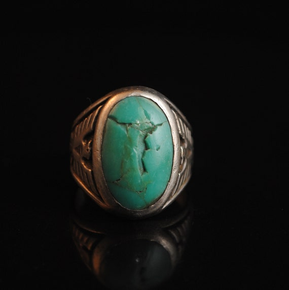 Sterling Silver Native American Navajo Turquoise Coral Ring Sz 10.5 #13282A