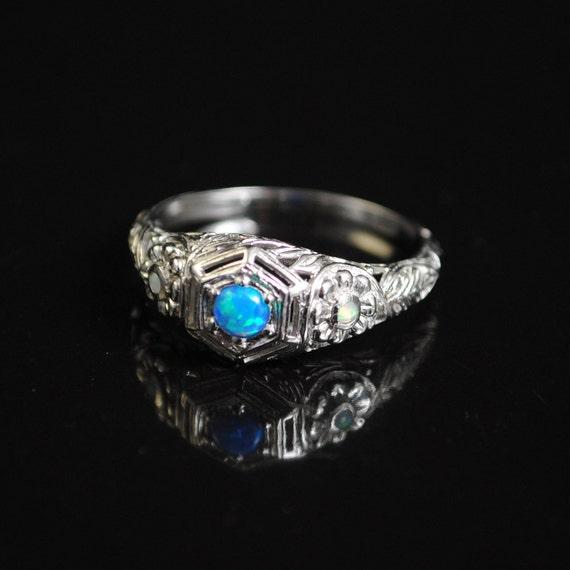 Sterling Silver Blue Fire Opal Art Deco Ring Sz 8 #11656