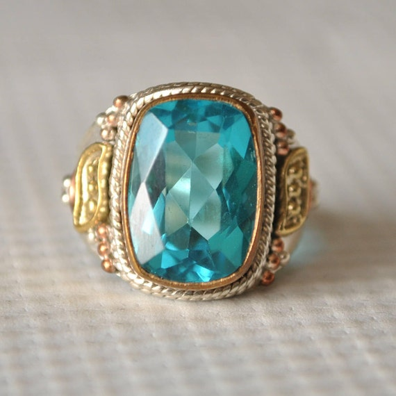 Sterling Silver Blue Topaz Ring Sz 6.75  #9775
