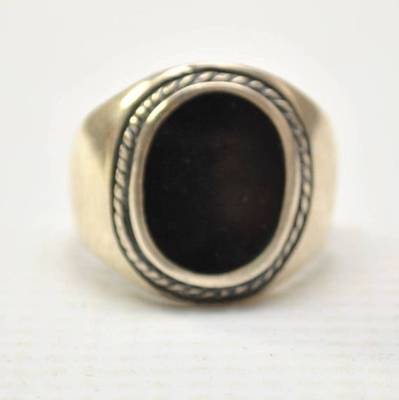 Onyx Large Oval with Braid in Plain Sterling Silver Ring Sz 12 #8747