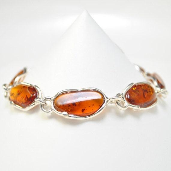 Sterling Silver Honey Amber Bracelet #10451
