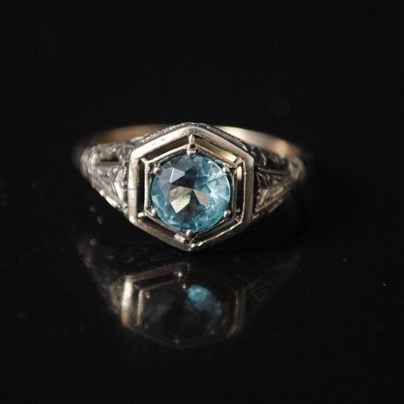 Sterling Silver Aquamarine Art Deco Ring Sz 7 #12345