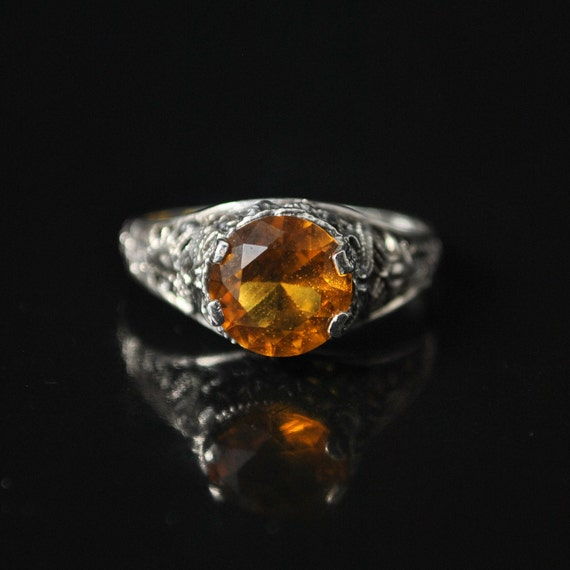 Sterling Silver Citrine Victorian Ring Sz 6 #10144
