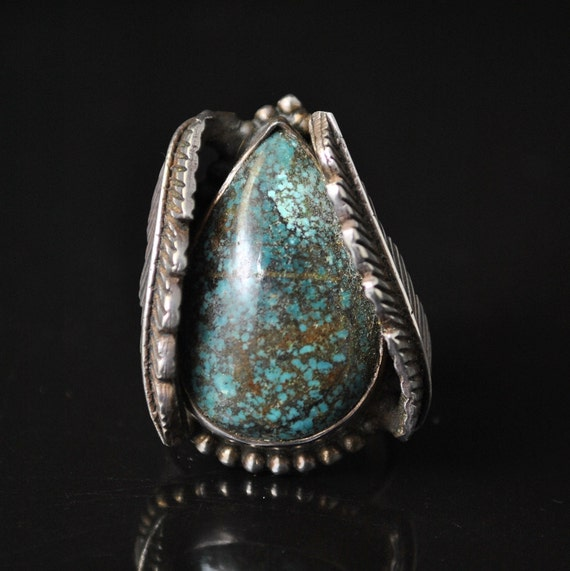Sterling Silver Tibetan Turquoise Native American Style Ring Sz 8 #9079