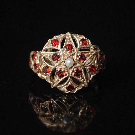Sterling Silver Fire Garnet Pearl Art Deco Ring Sz 7 #7285