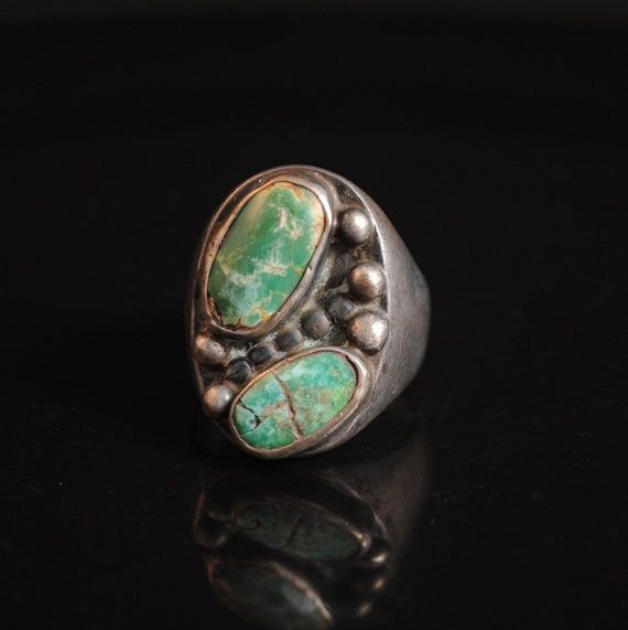 Sterling Silver Native American Navajo Green Turquoise Ring Sz 11 #13268