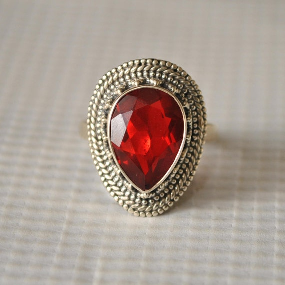 Sterling Silver Fire Garnet Ring Sz 7.75 #9828