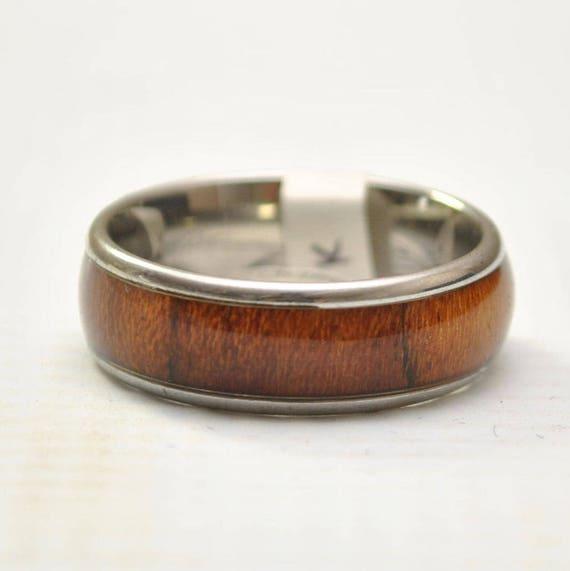 Hawaiian Koa Wood Thick Inlay Band in Stainless Steel Ring Sz 13 #10549