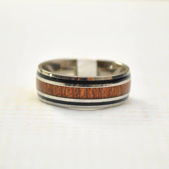 Hawaiian Koa Wood with Black Stripe in Stainless Steel Ring Sz 9 #8306