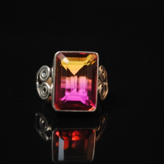 Sterling Silver Bi-Color Tourmaline Ring Sz 6.5 #13347