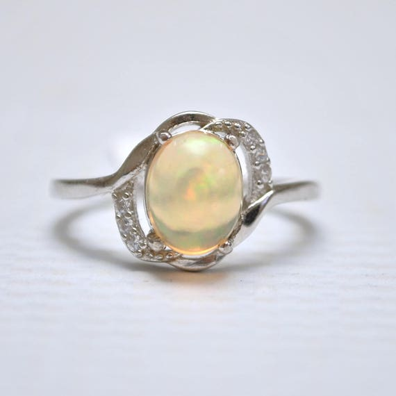 Sterling Silver Opal  Ring Sz 8 #10021