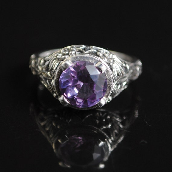 Sterling Silver Alexandrite Art Nouveau Ring Sz 7  #11659