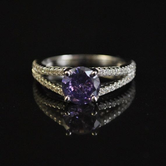 Sterling Silver Sapphire White Topaz Ring Sz 8 #11431