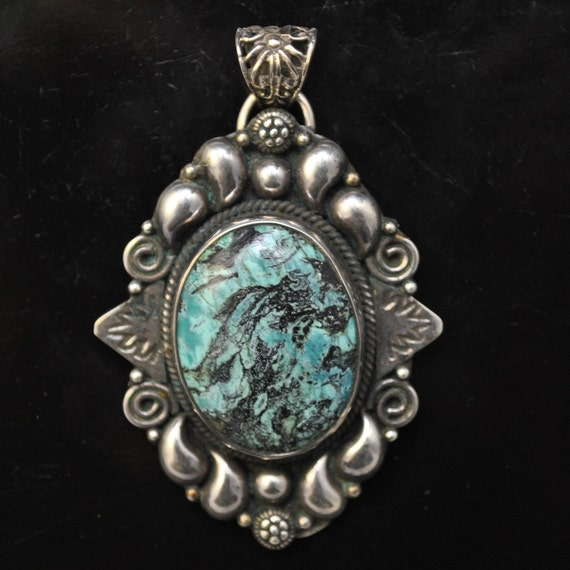 Sterling Silver Tibetan Turquoise Pendant Native American Style #9880