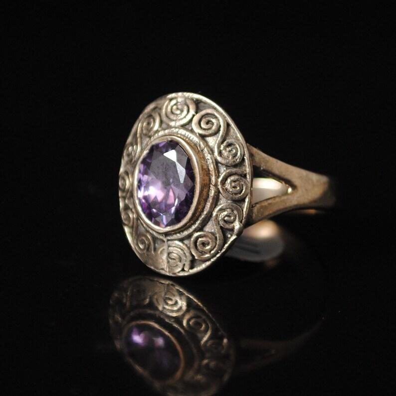 Sterling Silver Amethyst Art Deco Ring Sz 7.75 #11936