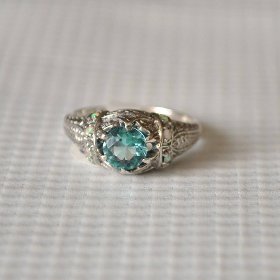 Sterling Silver Art Deco Aquamarine Ring Sz 8  #9808