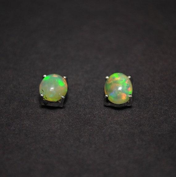 Sterling Silver Opal Stud Earrings #13808