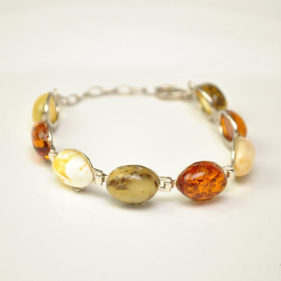 Sterling Silver Mixed Types Amber Bracelet #11300
