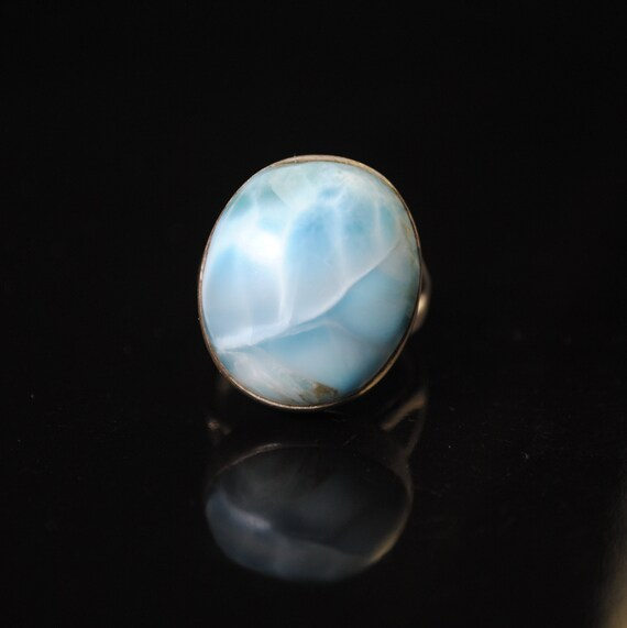 Sterling Silver Larimar Oval Ring Sz 8  #11876
