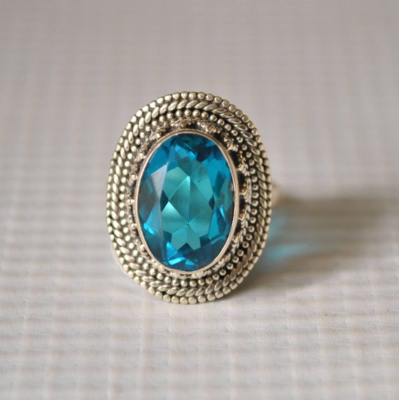 Sterling Silver Blue Topaz Ring Sz 5.75  #9819
