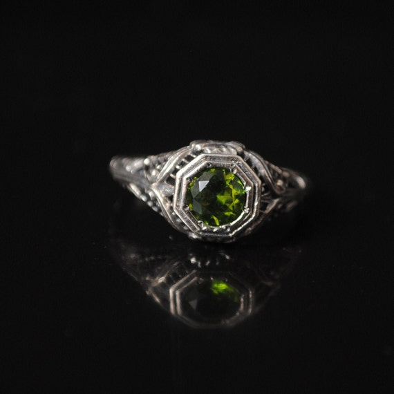 Sterling Silver Antique Style Peridot Art Nouveau Ring Sz 6 #12977