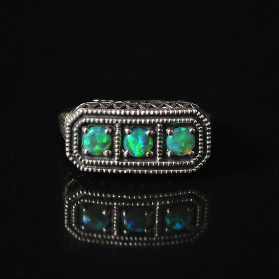 Sterling Silver Antique Style Art Deco Australian Opal Ring Sz 7  #10143