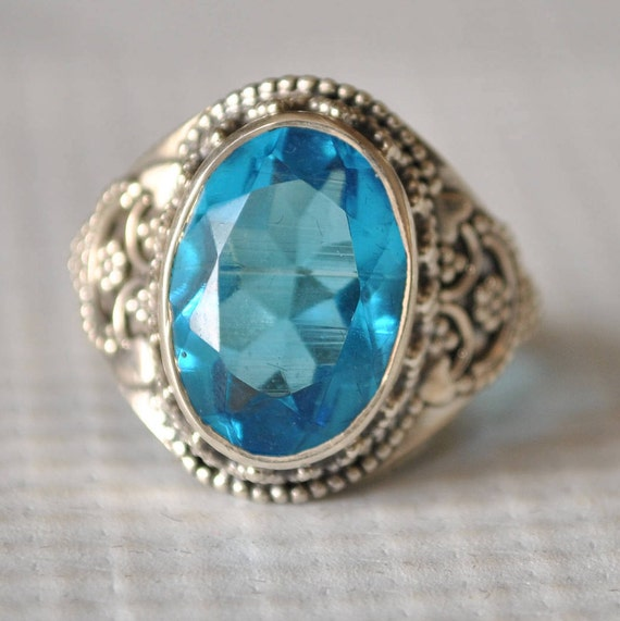 Sterling Silver Blue Topaz Ring Sz 6  #9779