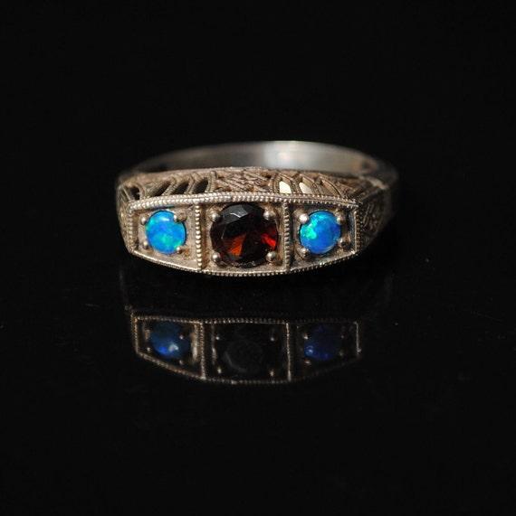 Sterling Silver Garnet Blue Fire Opal Art Deco Ring Sz 7 #6807