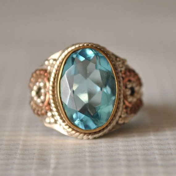 Sterling Silver Art Deco Aquamarine Ring Sz 7.25  #9849