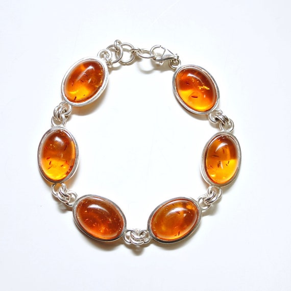 Sterling Silver Honey Amber Bracelet #10790