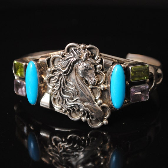 Native American Signed Running Bear Turquoise Peridot Amethyst Cuff #13058