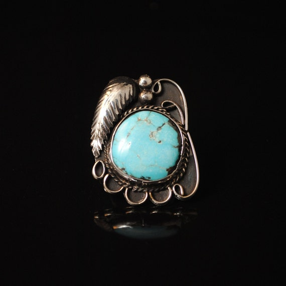 Sterling Silver Native American Turquoise Ring Sz 7 #13740