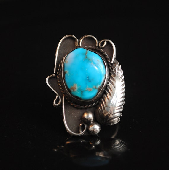 Sterling Silver Native American Navajo Turquoise Ring Sz 7 #13739