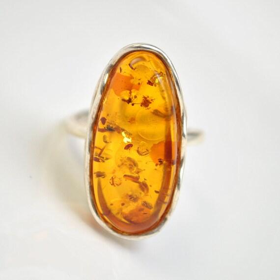 Sterling Silver Honey Amber Adjustable Ring #10439