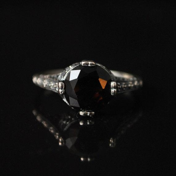 Sterling Silver Smoky Topaz  Ring Sz 8  #10253
