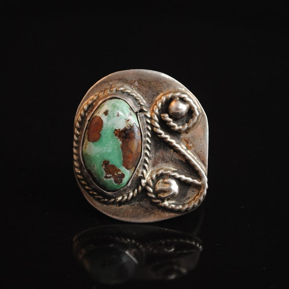 Sterling Silver Native American Navajo Turquoise Ring Sz 10 #13734