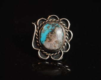 Sterling Silver Native American Turquoise Ring Sz 5.25 #4204