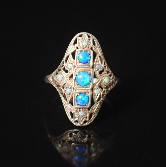 Sterling Silver Blue Fire Opal  Ring Sz 7 6880