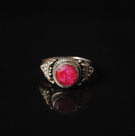 Sterling Silver Ruby Art Deco Ring Sz 8 #11641